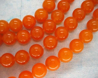 Full Strand Beautiful Tangerine Jade Smooth Round Beads 14mm