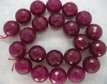 15 Inch Strand Beautiful Rose Red Jade Faceted Round Beads 18mm