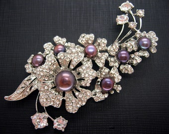 Beautiful Flower Brooch with Black Purple Freshwater Pearls and Cubic Zirconia