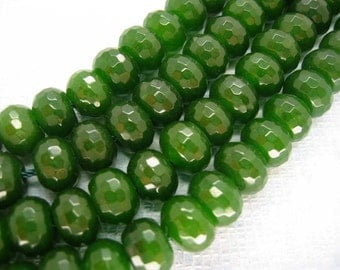 Full Strand Moss Green Jade Faceted Rondelle Beads 8x5mm