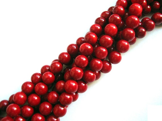 Fabulous Red Sea Bamboo Coral Round Smooth Beads 10mm - 16 Inch Strand