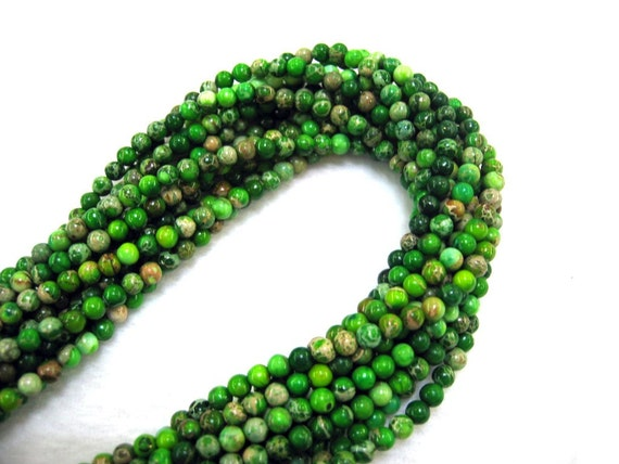 Gorgeous Green Variscite Sea Sediment Jasper Round Beads 4mm