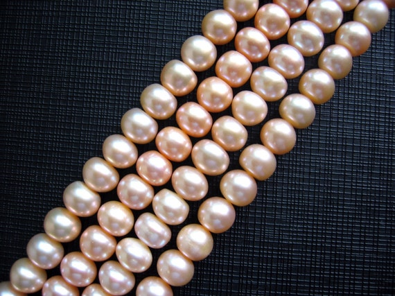 Lustrous Peach Salmon Freshwater Pearls Rondelle Shaped --- 15.5 Inch Strand