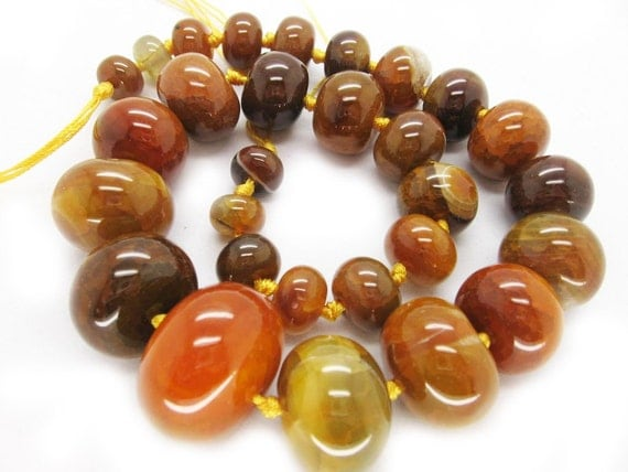 Awesome Knotted Natural Agate Yellow Polished Rondelle Graduated Beads