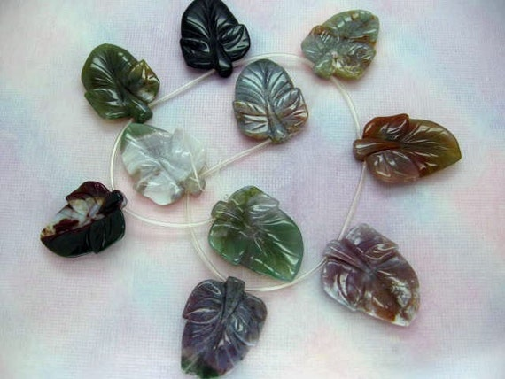 10 Pcs Large Fine Carved Leaf Indian Agate Gemstone Beads 16 Inch Strand
