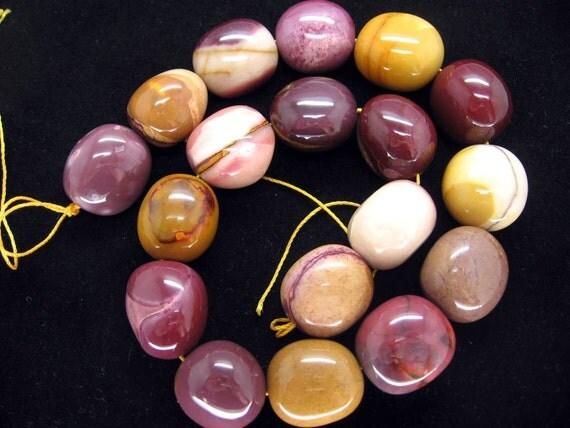Beautiful Australian Mookaite Polished Oval Beads