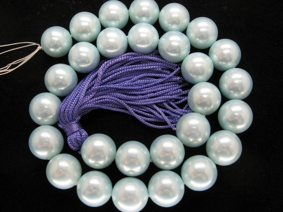 14mm Pastel Cyan South Sea Shell Pearl Beads - 16 Inch Strand
