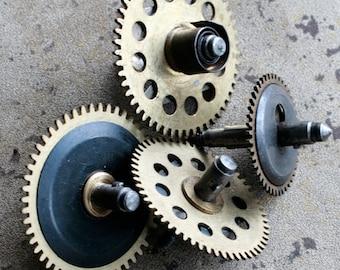 Vintage clock large brass gears -- set of 4 -- D5