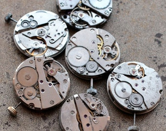 Vintage watch movements -- set of 6 -- D1