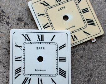Vintage Soviet Alarm Clock Faces from 1980's -- plastic -- D6