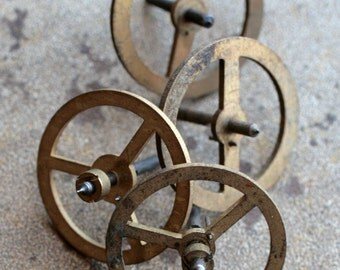 Vintage alarm clock balance wheels -- set of 4 -- D9