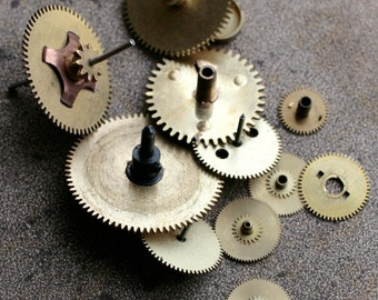 Vintage selection of assorted clock gears -- set of 11 -- D10