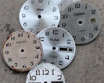 Vintage Wrist Watch Faces -- set of 6 -- D11