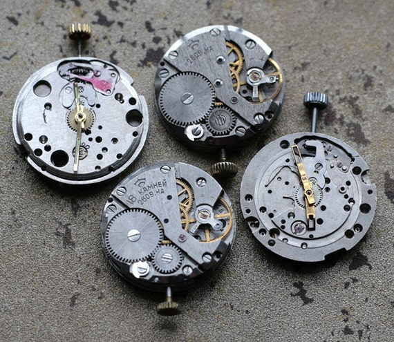 Vintage watch movements with hands -- set of 4