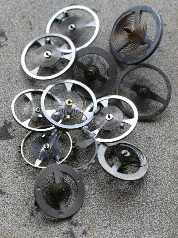 Vintage alarm clock balance wheels -- set of 12