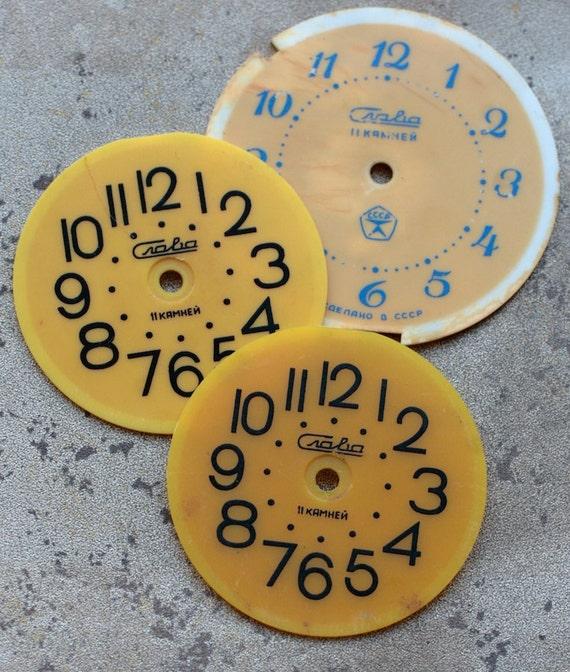 Vintage Soviet Alarm Clock Faces -- plastic -- set of 3 -- D1