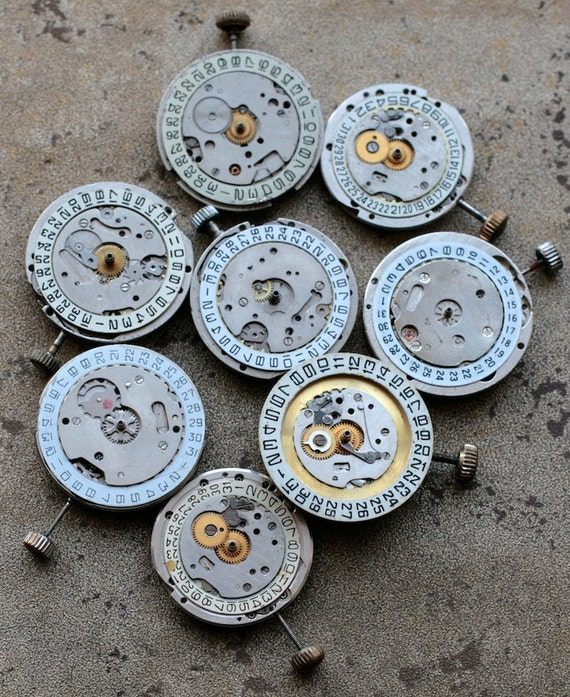 Vintage watch movements -- date rings -- set of 8 -- D7