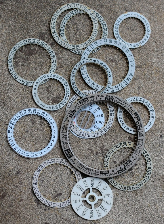 Vintage Watch parts -- number rings- set of 15 -- D1