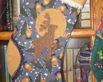 SALE Christmas Stocking Reindeer, Deer, Hunters Stocking OOAK Name Chris Only