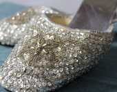 HEELS - SILVER - For Franklin Simon- short heels - size L 8-9 - metallic - hong kong - silver sequins