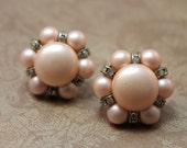 EARRINGS - PINK - pearl and RHINESTONE - screw back earrings