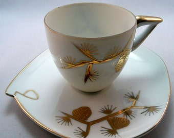 Pine cone and branch teacup small size gold and white pine needles petite 1960's sweet tiny cup and saucer interesting shape use of display