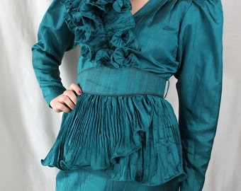 SUIT - 1980s - RUFFLED 2 piece suit - TURQUOISE - rhinestones - by B.B/Collections - fabulous - size M