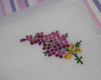 HANDKERCHIEF - EMBROIDERED - PURPLE flowers - delicate hanky