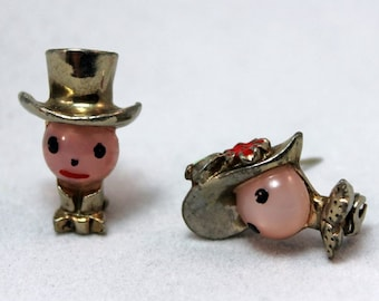 BROOCH - JELLY Belly - scatter pins - VICTORIAN style man and woman - figural - metal and plastic - painted