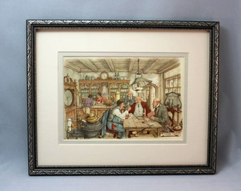 Anton Pieck The Card Players print perfect for framing 1960's whimsical poker playing men at bar turn of the century style illustration