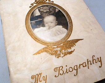Baby Book 1914 by Borden's Condensed Milk Co. Detroit Baby's biography milestone record of Edwin Rall lovely historical book ephemera piece