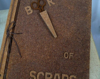 Scrapbook Book of Scraps with scissors built in blank cork 1950's wonderful and unique great gift ready to fill in empty creative book cool