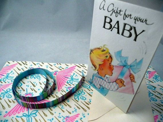 Clearance - GIFT WRAP Kit - baby SHOWER - gift wrap - ribbon - gift card - vintage