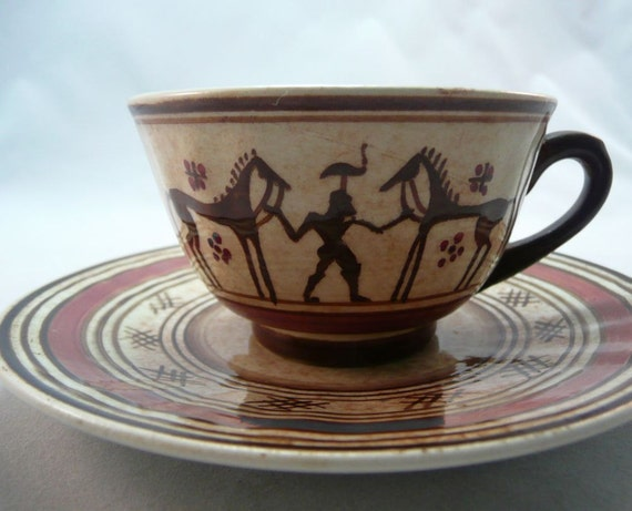 TEACUP - KERAMIKOS - small teacup - hand made athens GREECE - cup and saucer