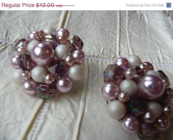SALE - EARRINGS - romantic dusty PURPLE and Pearl earrings