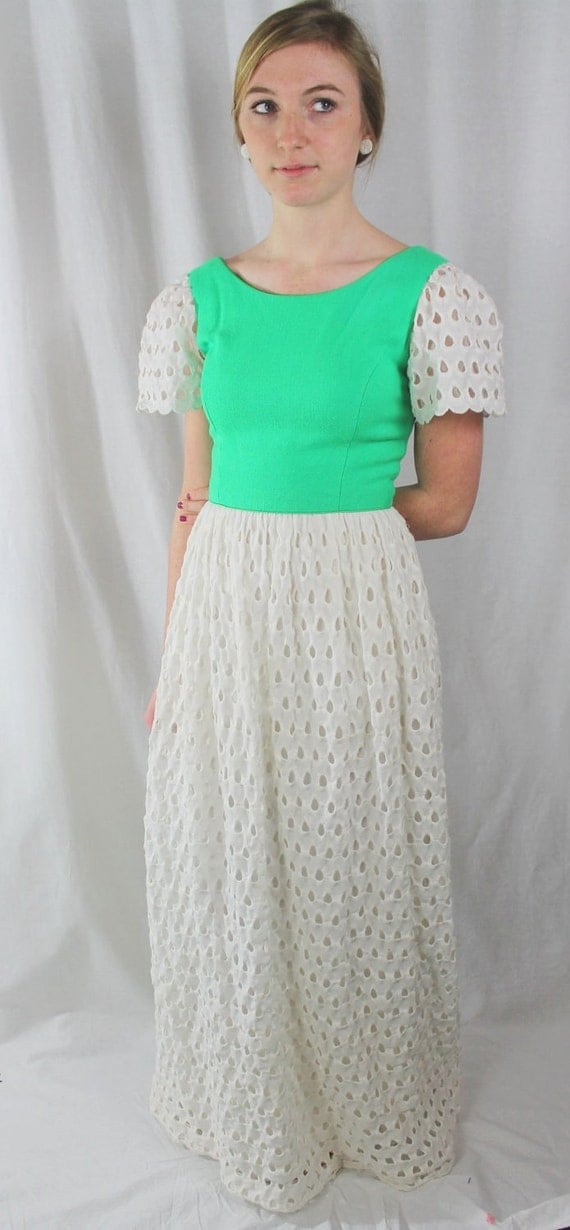DRESS - LONG dress - PRAIRIE style - Posh by Jay Anderson - grass green - white - cutouts - size S
