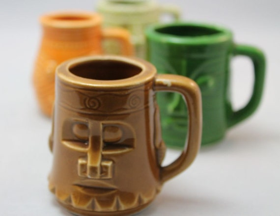 TIKI - SHOT GLASSES - tiny cups with handles - Mayan - Mexican - ceramic