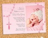 Sky of Pink Heaven's Bliss | custom baptism photo invite, christening photo invitation, girl religious event invite - Printable Digital File