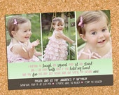Girl, Look Out World | custom kids photo party invitation, first birthday picture invite - Printable Digital File, Print Service Available
