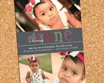 Pretty Penciled One | custom kids photo party invitation, girl first birthday photo invite - Printable Digital File, Print Service Available