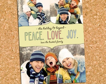 Peace Love Joy Holiday Photo Card, Picture Collage Christmas Photo Card - DiY Printable, Print Service Available || Peace Love Joy Scribbles