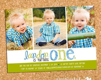 Boys Birthday Party Photo Invitation, 1st First Birthday Photo Invite - DiY Printable, Print Service Available || Three Times a Charmer