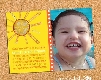 Sunshine Girls Birthday Party Photo Invitation, Whimsical Girl Invite, Summer - DiY Printable, Print Service Available    Handmade Sunshine