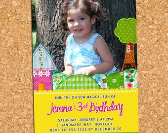 Oh Sew Magical Fun | custom kids photo birthday party invitation, whimsical party invite - Printable Digital File, Print Service Available