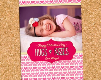 Cute Hearts Valentine's Day Photo Card, Hugs Kisses Picture Valentine - DiY Printable, Print Service Available || Hugs + Kisses Scribbles