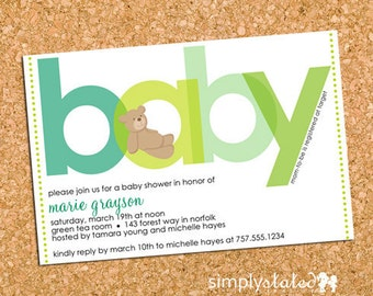 Teddy Bear Baby Shower Invitation, Bear Baby Shower Invite, Gender Neutral - DiY Printable, Print Service Available || All About Beary Green