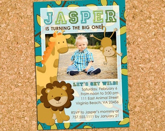 Jungle Safari Birthday Party Invitation, Wild Safari Animals Photo Invite, Zoo Birthday Party - DiY Printable || Jungle Safari Animals