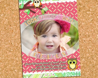 Owl Birthday Party Photo Invitation, Owl Themed Birthday Party Invite, 1st First Birthday Invite - DiY Printable || Handmade Hoot Hoot Owls