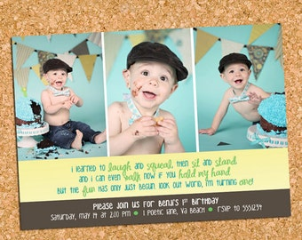 Boys 1st First Birthday Party Photo Invitation, Three Photos Birthday Invite - DiY Printable, Print Service Available || Boy, Look Out World