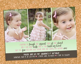 Girls First Birthday Party Photo Invitation, Three Photo Birthday Invite - DiY Printable, Print Service Available || Girl, Look Out World